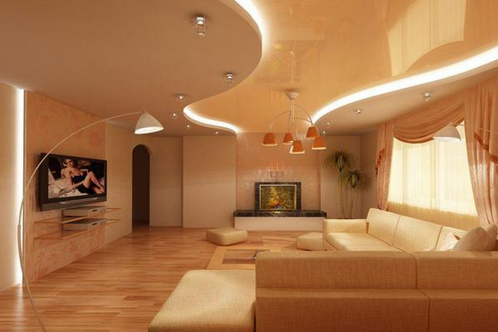 Натяжные двухуровневые потолки