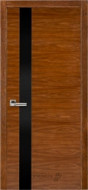 Межкомнатная дверь 21 орех американ (с черным стеклом)